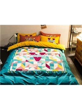 Unique Design Virginia Print 4-Piece Cotton Duvet Cover Sets