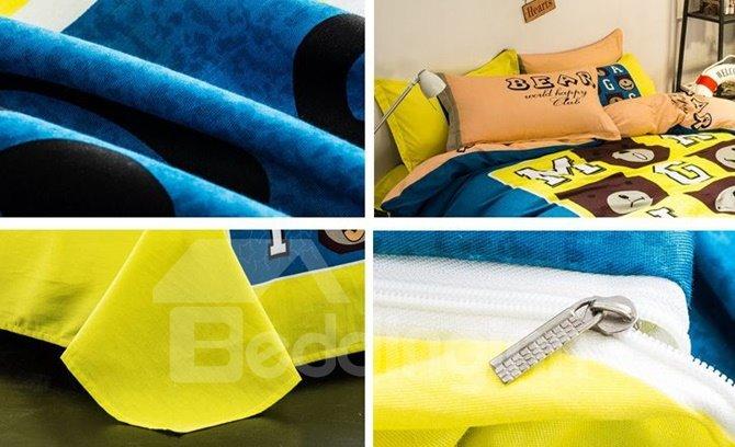 Elegant Bear and Letter Print 4-Piece Cotton Duvet Cover Sets