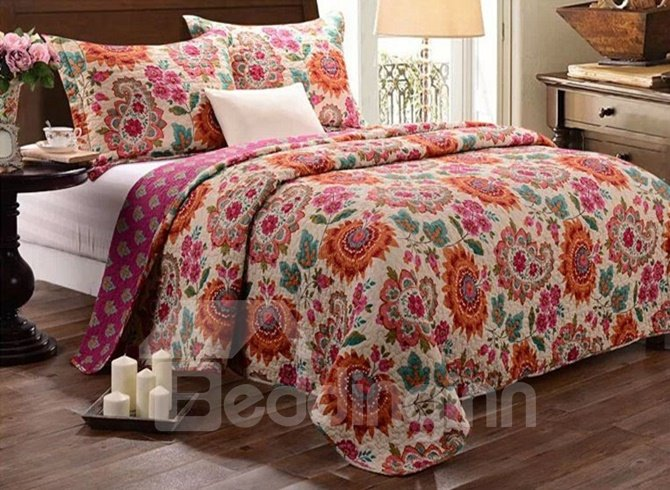 Exotic Style Paisley and Flower Print Cotton 3-Piece Bed in a Bag