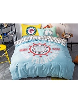 Simple San Francisco Print 4-Piece Cotton Duvet Cover Sets