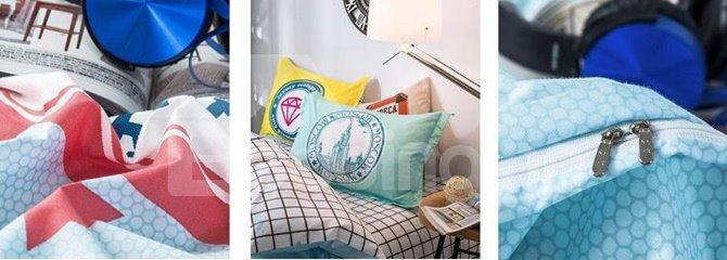 Simple San Francisco Print 4-Piece Cotton Duvet Cover Sets