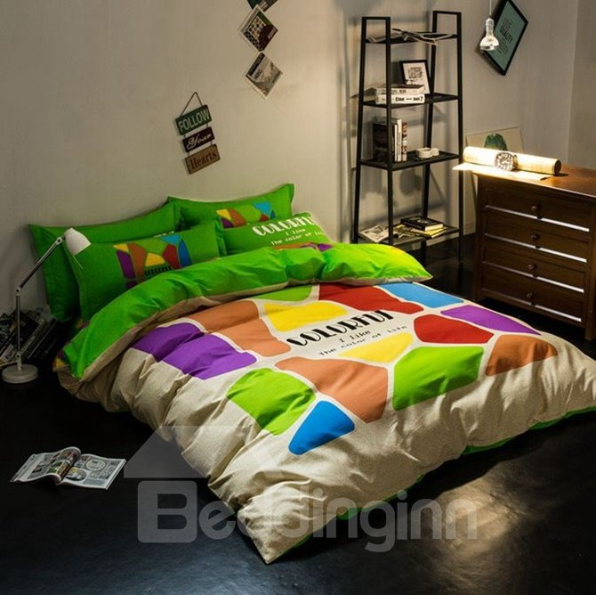 Minimalist Style Colorful Cotton 4-Piece Duvet Cover Sets