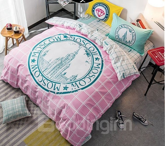 City Skyline Print Pink Stripe 4-Piece Cotton Duvet Cover Sets