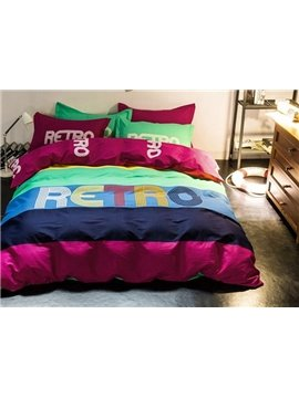 Colorful Letter Design 100% Cotton 4-Piece Duvet Cover Sets