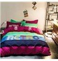 Colorful Letter Design 100% Cotton 4-Piece Duvet Cover Sets