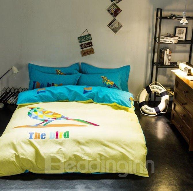 Creative Cute Bird Print Yellow 4-Piece Cotton Duvet Cover Sets