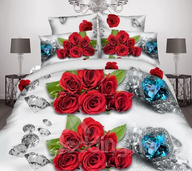 Shining Diamond and Red Rose 3D Printed 4 Pieces Polyester Bedding Sets