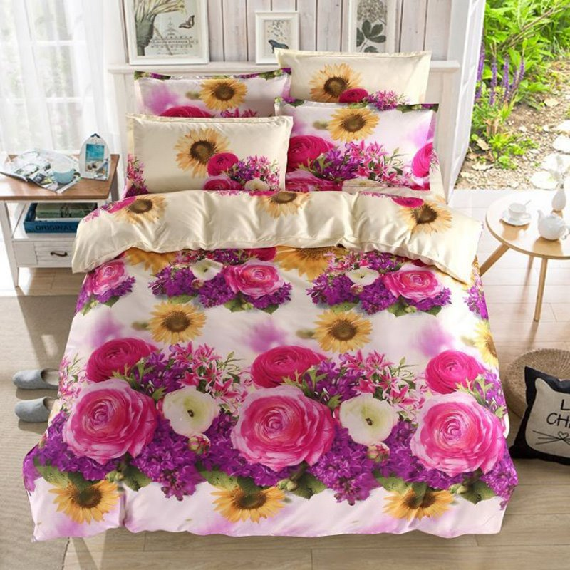 Exquisite Sunflower and Roses 3D Printed 4-Piece Polyester Duvet Cover