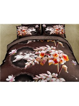 Romantic Swan and Pink Flower 4-Piece Polyester 3D Duvet Cover