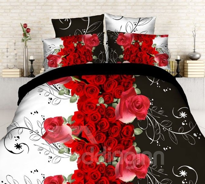 Gorgeous Red Rose and Vine Print 4-Piece Polyester 3D Duvet Cover