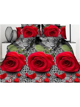 Sexy Red Rose and Leopard 3D Printed 4-Piece Polyester Duvet Cover