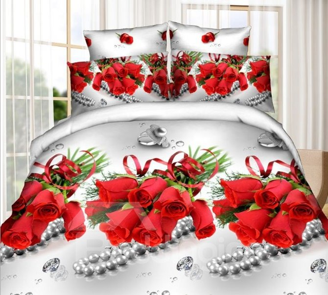 Charming Red Rose and Diamond Print 4-Piece Polyester 3D Duvet Cover