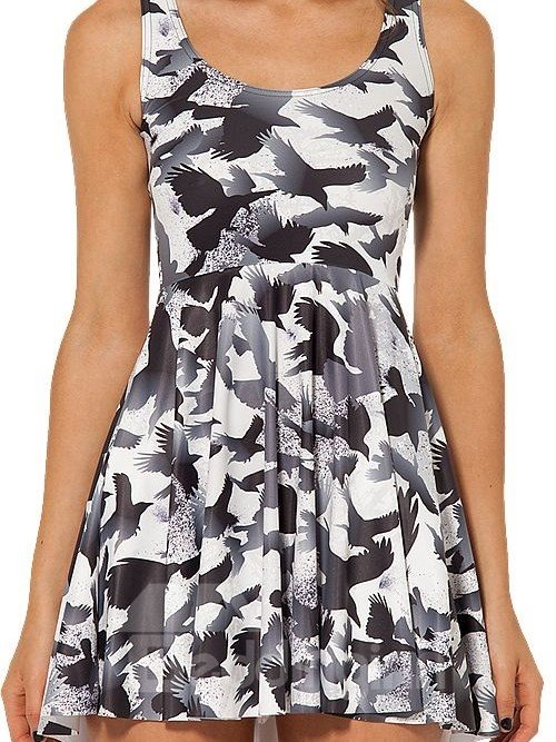 Super A-line Round Neck Birds Pattern White Background 3D Painted Dress