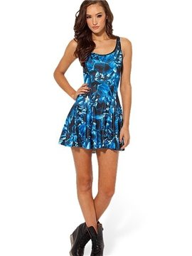Fancy A-line Round Neck Dark Blue Crystal Pattern 3D Painted Dress