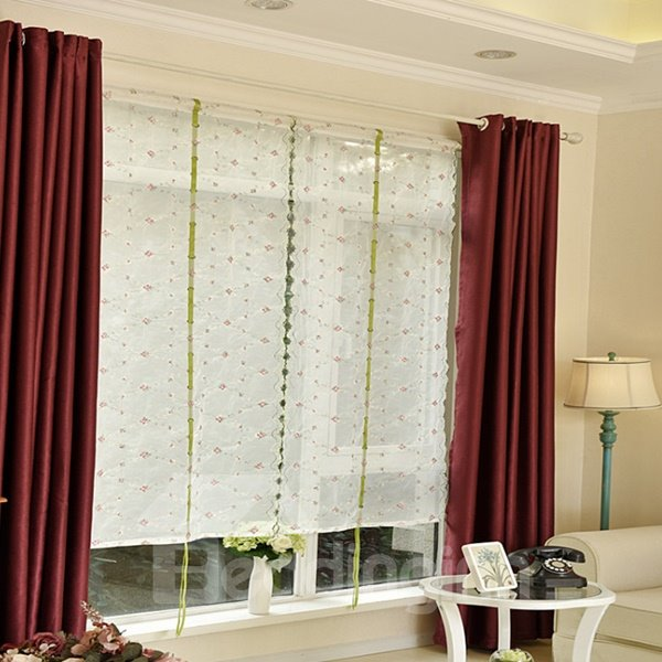 Concise Purple Floral Embroidery Sheer Tied-Up Roman Shades