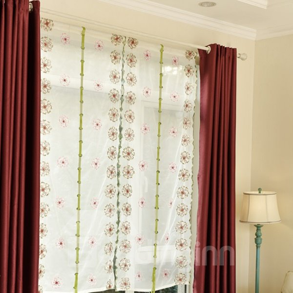 Elegant Colorful Wreaths Embroidery Sheer Tied-Up Roman Shades