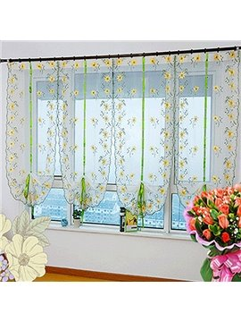 Country Style Yellow Sunflowers Embroidery Sheer Tied-Up Roman Shades