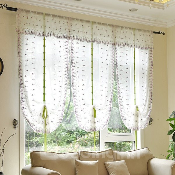 Free Shipping Romantic Purple Floral Embroidery Sheer Tied-Up Roman Shades