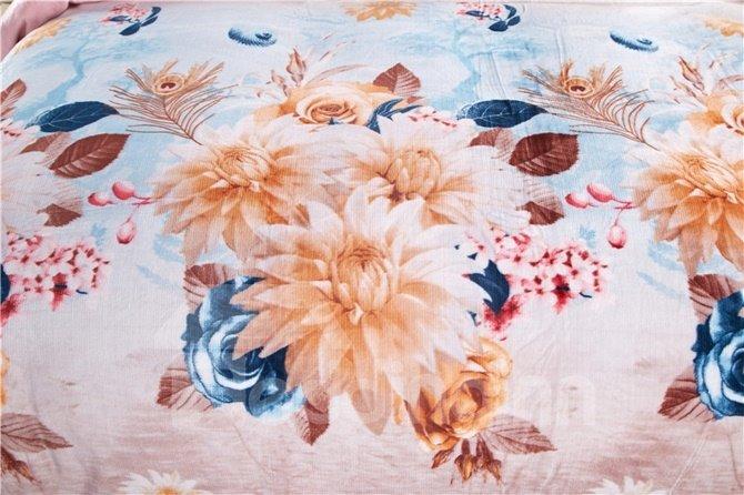Beautiful Clematis Florida Print 4-Piece Coral Fleece Duvet Cover Sets