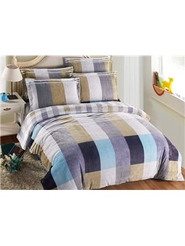 Elegant Generous Stripe and Plaid 4-Piece Coral Fleece Duvet Cover Sets