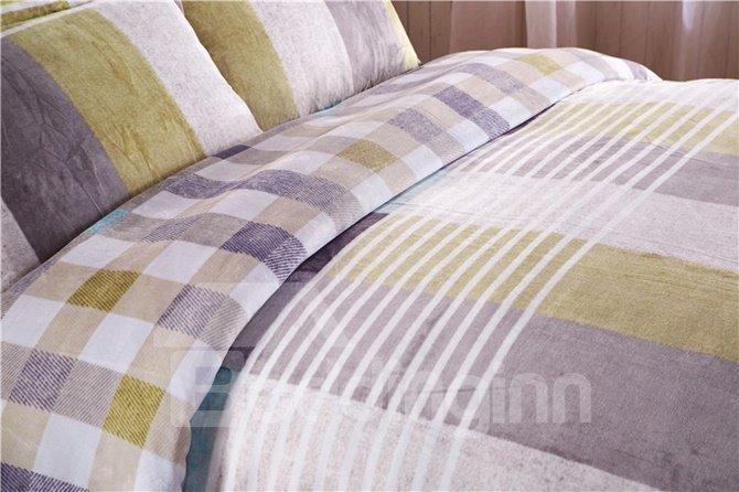 Elegant Generous Stripe and Plaid 4-Piece Coral Fleece Duvet Cover Sets