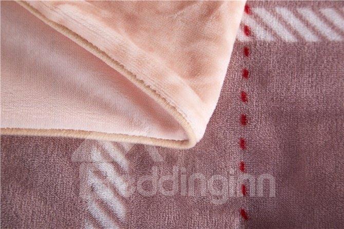 Skincare Modern Plaid 4-Piece Coral Fleece Duvet Cover Sets
