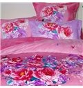 Romantic Heart-shaped Peony Print 4-Piece Coral Fleece Duvet Cover Sets