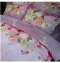 Fancy Lilac and Peony Print 4-Piece Coral Fleece Duvet Cover Sets