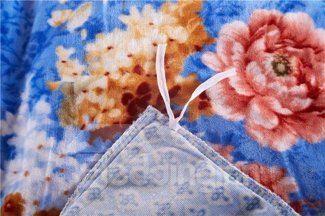 Noble Lush Peony Print Blue 4-Piece Coral Fleece Duvet Cover Sets