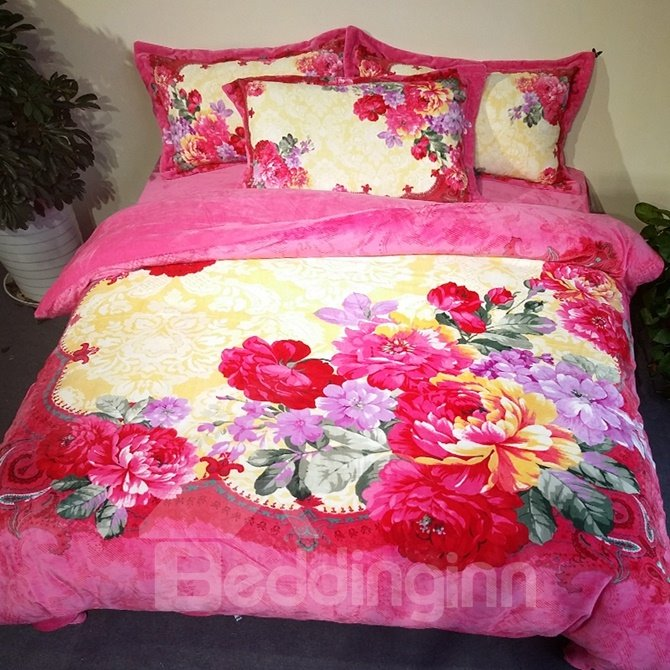 Excellent Colorful Peony Print 4-Piece Coral Fleece Duvet Cover Sets