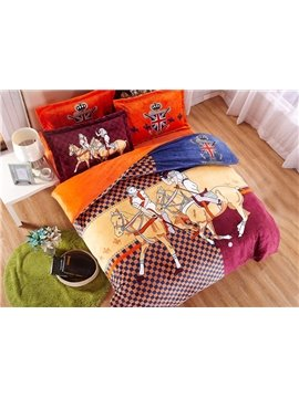 Knight and Checker Print 4-Piece Coral Fleece Duvet Cover Sets