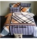 Classic Plaid Print 4-Piece Coral Fleece Duvet Cover Sets