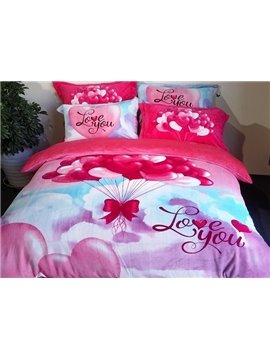 Romantic Colorful Balloon Print 4-Piece Coral Fleece Duvet Cover Sets