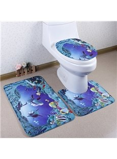 Caroset 3D Amazing Sea World Printing 3-Piece Toilet Seat Cover