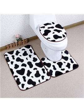 Caroset 3D Cute Cow Pattern Printing 3-Piece Toilet Seat Cover