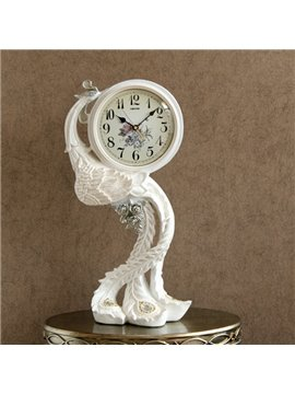 White Resin Beautiful Peacock Pattern Table Clock Desktop Decoration