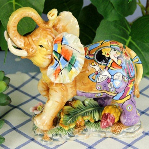 Colorful Ceramic Elephant Shape Beautiful Woman Pattern Painted Pottery