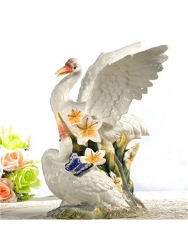 White Ceramic Flying Swan Shape Desktop Decoration Painted Pottery