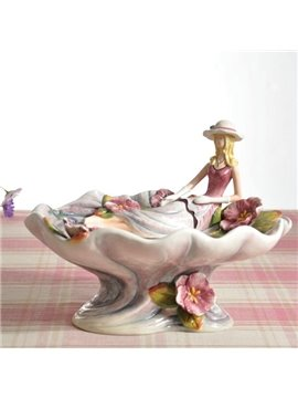 Unique Design Ceramic Beautiful Girl Pattern Fruit Compote Painted Pottery