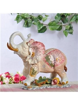 European Style Ceramic Elephant Desktop Decoration Painted Pottery