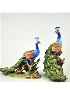 Modern Design Two Peacocks Desktop Decoration Painted Pottery