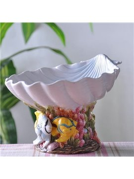 Amusing Ceramic Shell Shape Fruit Bowl Painted Pottery