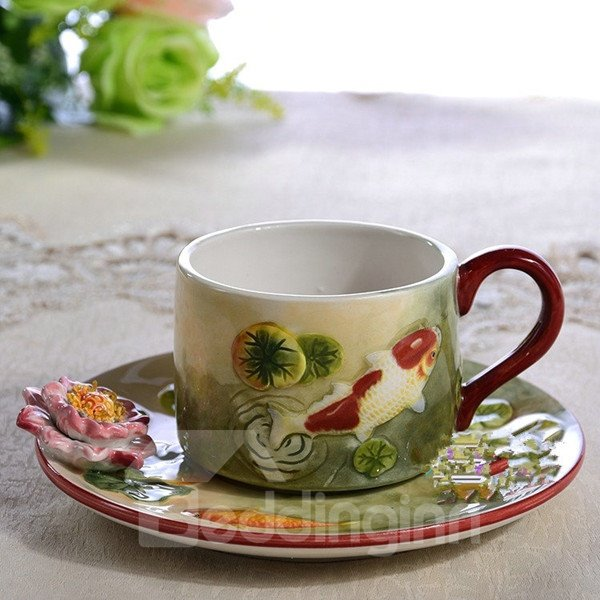 Natural Ceramic Goldfish and Lotus Pattern Cup Set Painted Pottery 12245602