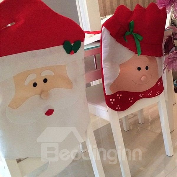Lovely Festival Christmas Decoration Santa Claus Pattern A Pair of Chair Covers