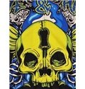 Fashion Long Sleeve Zip-Front Yellow Skull Pattern 3D Painted Hoodie