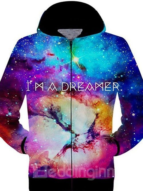 Colorful Long Sleeve Zip-Front Multicolor Starry Sky Pattern 3D Painted Hoodie