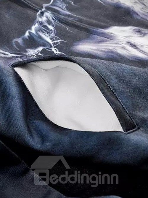 Super Long Sleeve Zip-Front Wolve Pattern 3D Painted Hoodie