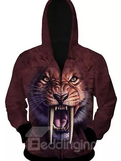 Long Sleeve Zip-Front Saber-toothed Tiger Face Pattern 3D Painted Hoodie