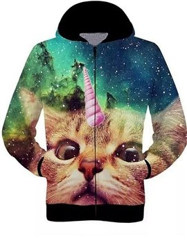 Long Sleeve 3D Painted Cat Pattern Starry Sky Background Zipper Hoodie for Men