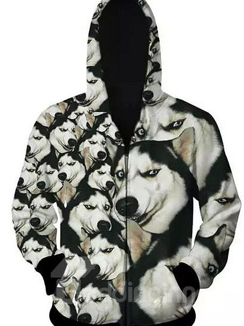 Popular Long Sleeve 3D Painted Husky Pattern Zipper Hoodie for Men